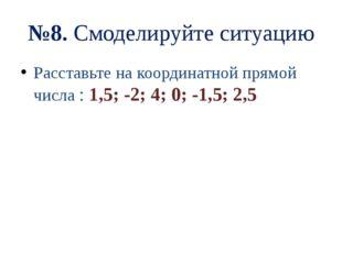 №8. Смоделируйте ситуацию Расставьте на координатной прямой числа : 1,5; -2;