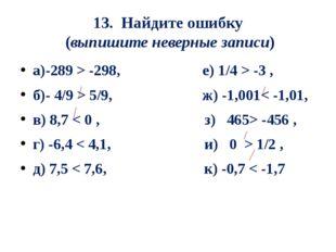 13. Найдите ошибку (выпишите неверные записи) а)-289 > -298, е) 1/4 > -3 , б)