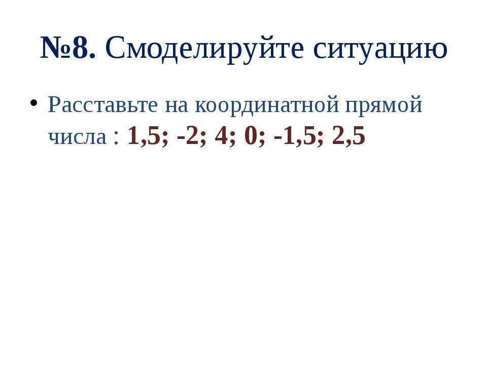 №8. Смоделируйте ситуацию Расставьте на координатной прямой числа : 1,5; -2;...