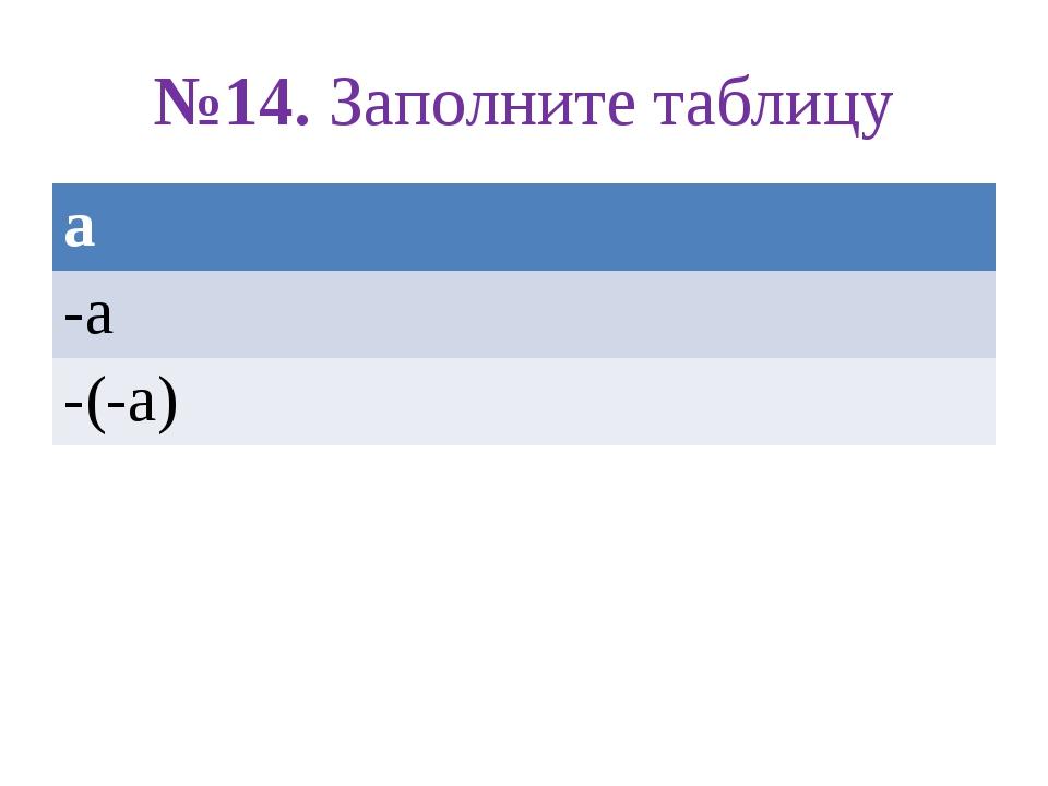 №14. Заполните таблицу а -а -(-а)