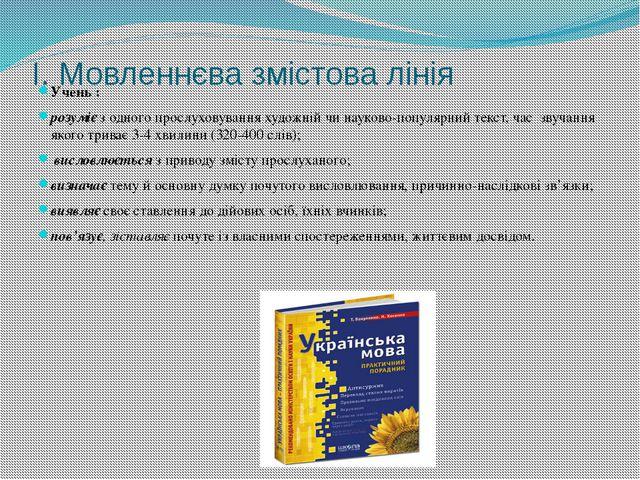 І. Мовленнєва змістова лінія Учень : розуміє з одного прослуховування художн...