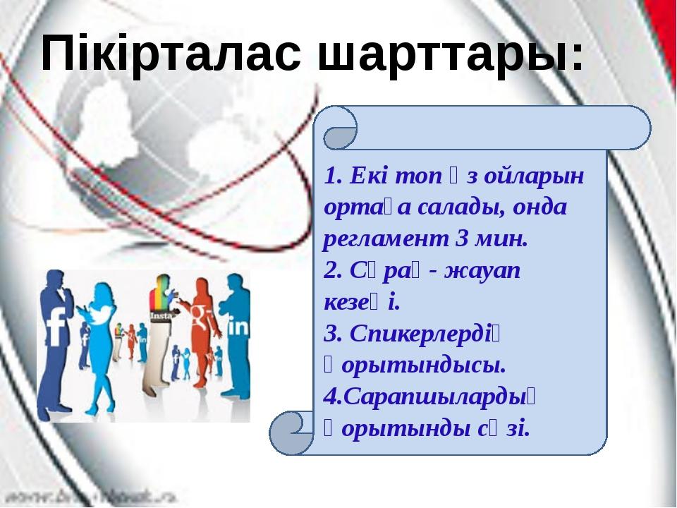 Пікірталас шарттары: 1. Екі топ өз ойларын ортаға салады, онда регламент 3 м...