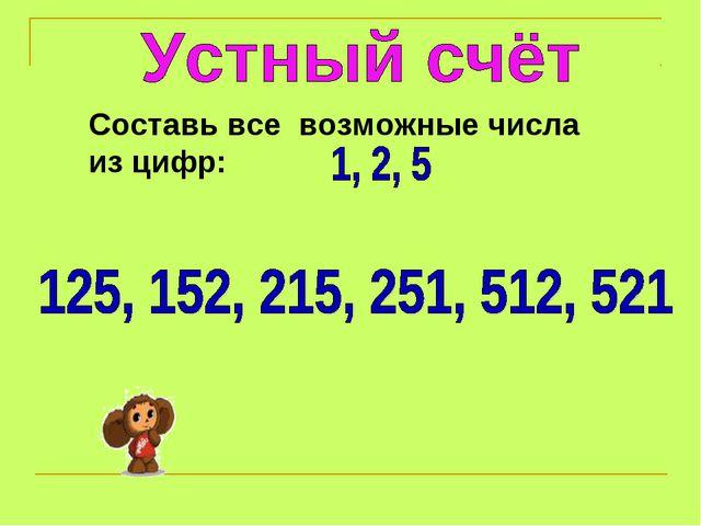 Составь все возможные числа из цифр: