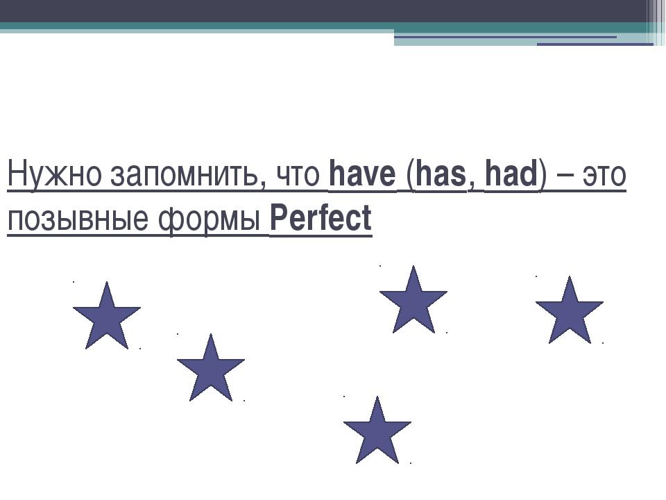 Нужно запомнить, что have (has, had) – это позывные формы Perfect
