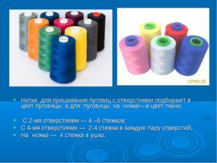 Нитки для пришивания пуговиц с отверстиями подбирают в цвет пуговицы, а для