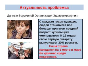 Актуальность проблемы: С каждым годом курящих людей становится все больше, пр