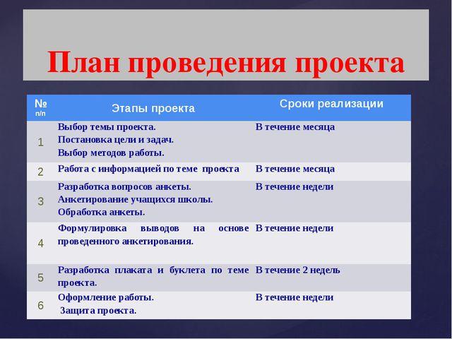 План проведения проекта № п/п Этапы проекта Сроки реализации 1 Выбор темы пр...