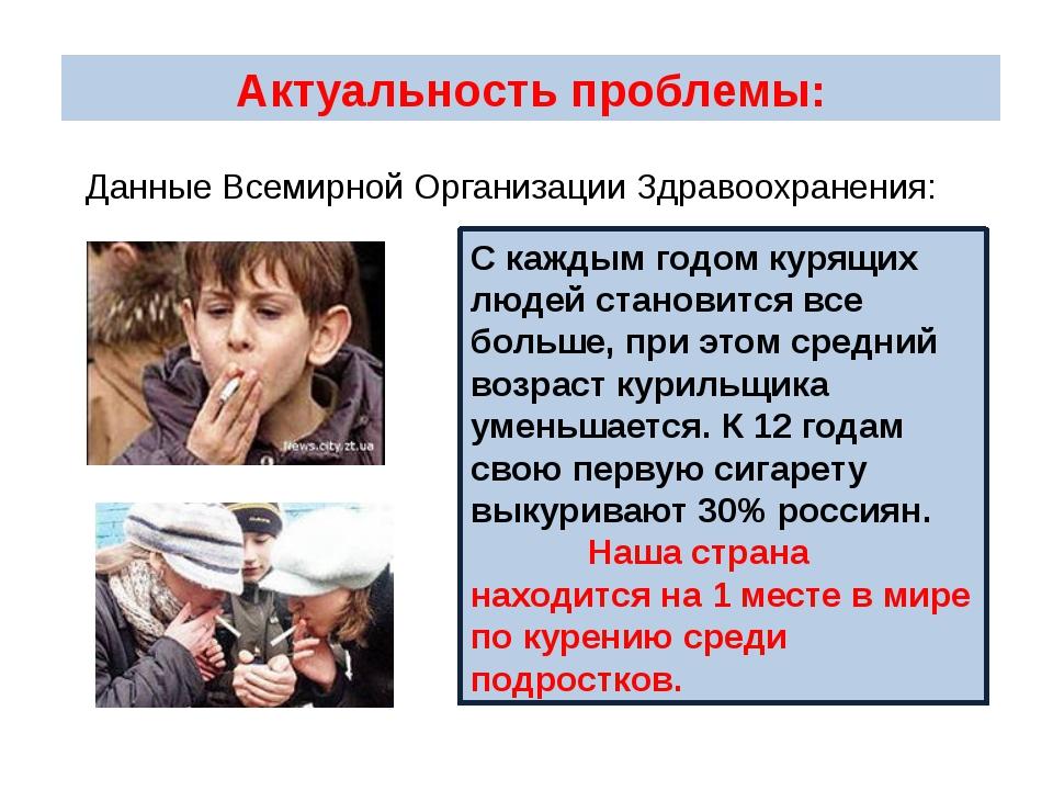 Актуальность проблемы: С каждым годом курящих людей становится все больше, пр...