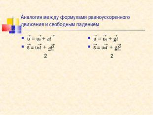Аналогия между формулами равноускоренного движения и свободным падением υ=υ