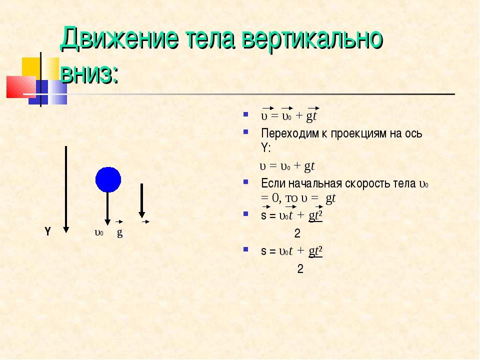 Движение тела вертикально вниз: Y υ0 g υ=υ0+gt Переходим к проекциям на о...
