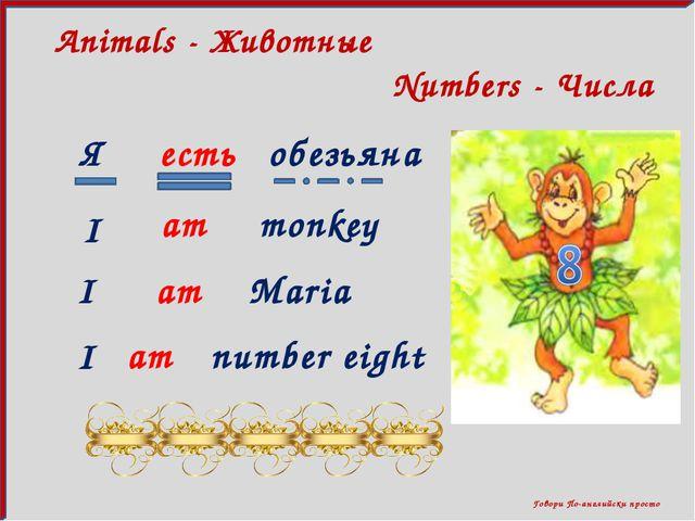 Говори По-английски просто Numbers - Числа Animals - Животные Я есть обезьян...