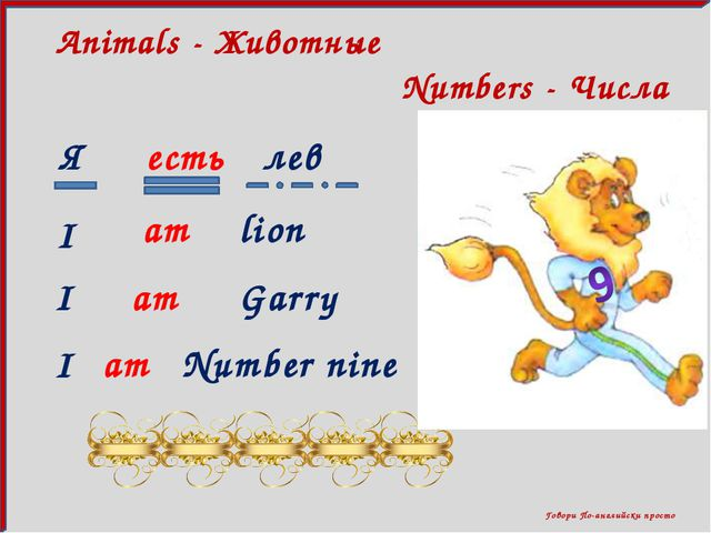 Говори По-английски просто Numbers - Числа Animals - Животные Я есть лев I l...