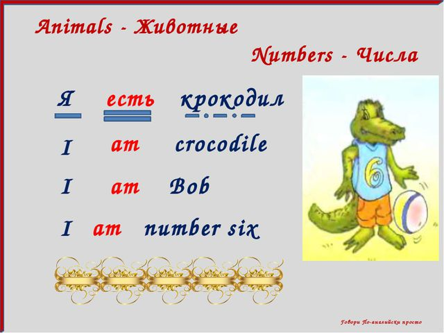 Говори По-английски просто Numbers - Числа Animals - Животные Я есть крокоди...