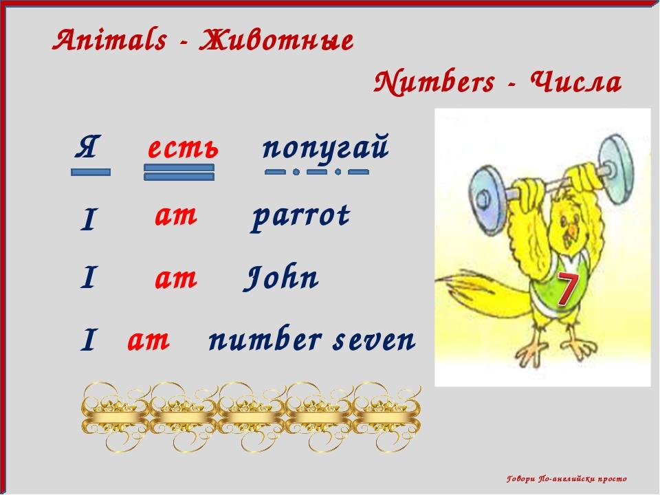 Говори По-английски просто Numbers - Числа Animals - Животные Я есть попугай...