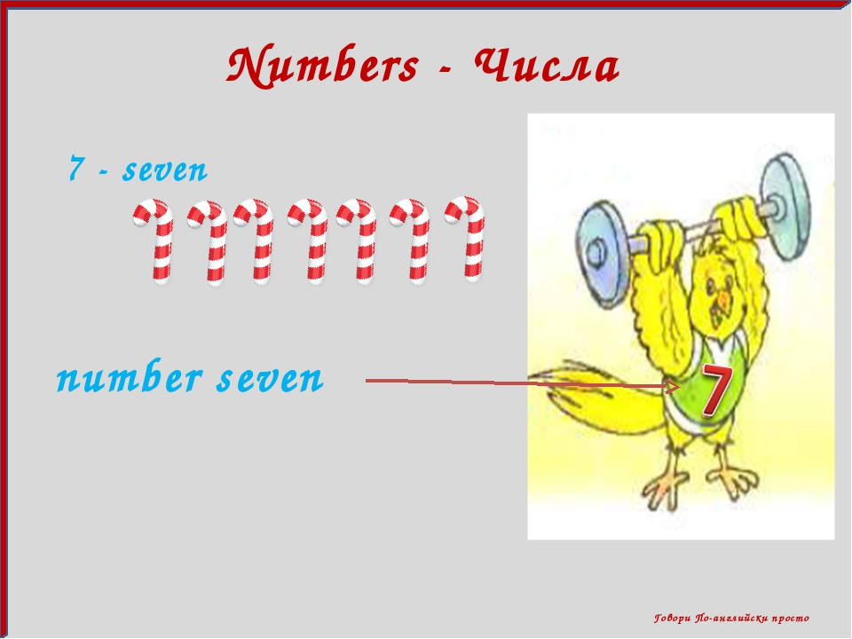 Говори По-английски просто Numbers - Числа 7 - seven number seven
