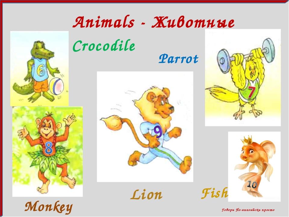 Говори По-английски просто Animals - Животные Crocodile Parrot Lion Fish Mon...