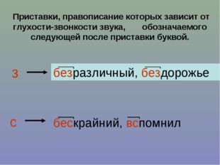 Приставки, правописание которых зависит от глухости-звонкости звука, обознач