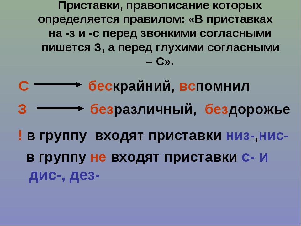 Приставки, правописание которых определяется правилом: «В приставках на -з и...