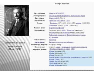 Эйнштейн во время чтения лекции (Вена, 1921) Альберт Эйнштейн Дата рождения: