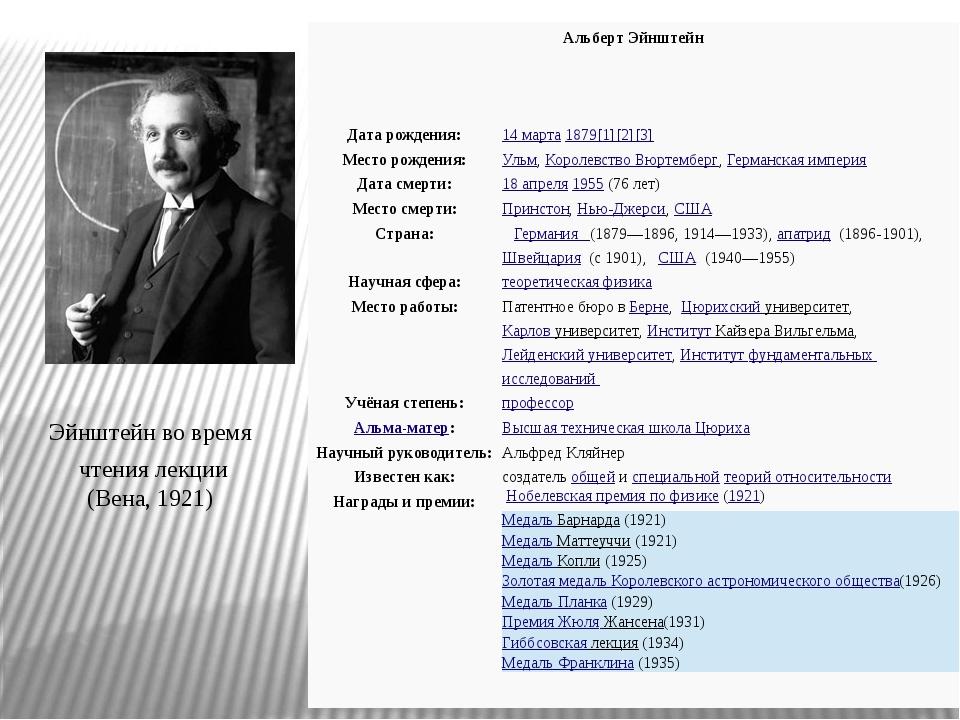 Эйнштейн во время чтения лекции (Вена, 1921) Альберт Эйнштейн Дата рождения:...