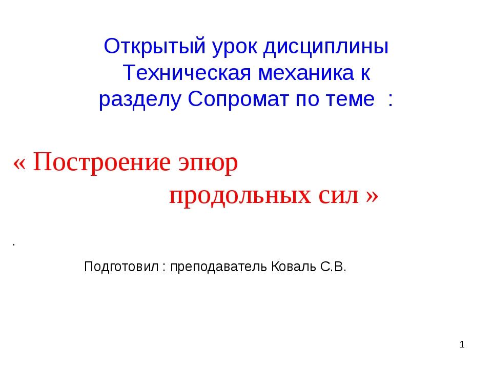 * Открытый урок дисциплины Техническая механика к разделу Сопромат по теме :...