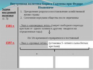 Внутренняя политика Бориса Годунова при Федоре Иоановиче Задачи внутренней по