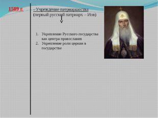 1589 г. - Учреждение патриаршества (первый русский патриарх – Иов) Укрепление