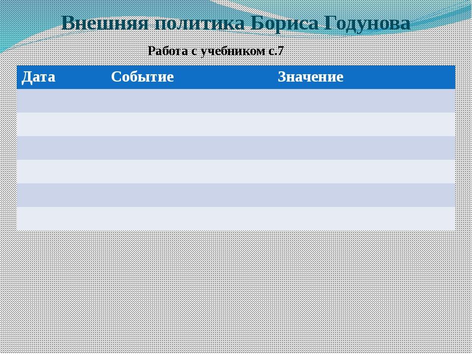 Внешняя политика Бориса Годунова Работа с учебником с.7 Дата Событие Значение