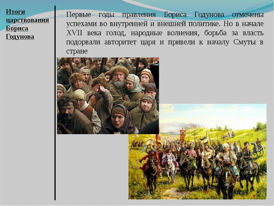 Итоги царствования Бориса Годунова Первые годы правления Бориса Годунова отме...