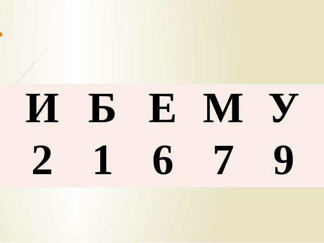А И Б Е М У К 3 2 1 6 7 9 5