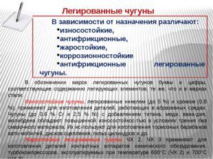 В обозначении марок легированных чугунов буквы и цифры, соответствующие содер