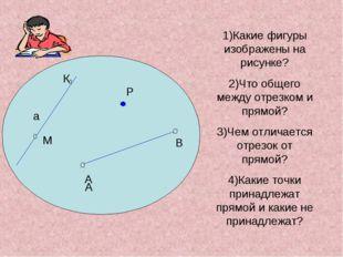 Р К М 1)Какие фигуры изображены на рисунке? 2)Что общего между отрезком и пр