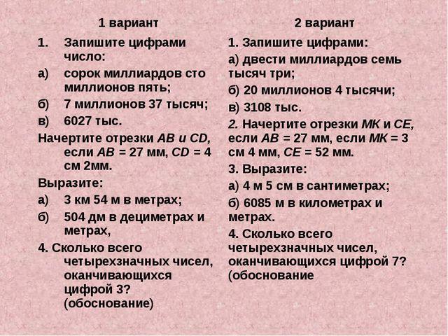 1 вариант2 вариант 1.Запишите цифрами число: а)сорок миллиардов сто миллио...