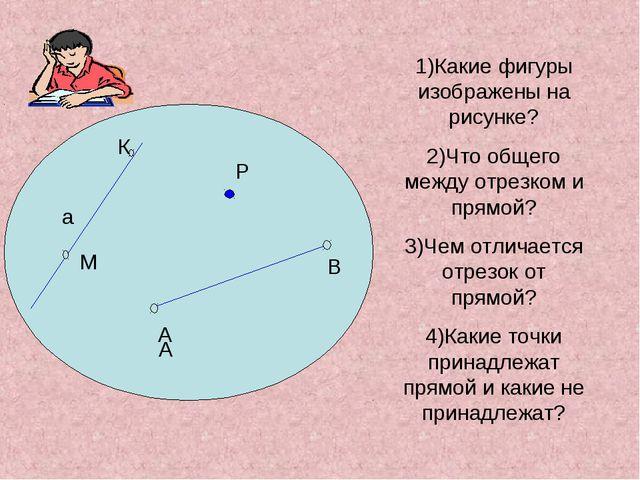 Р К М 1)Какие фигуры изображены на рисунке? 2)Что общего между отрезком и пр...