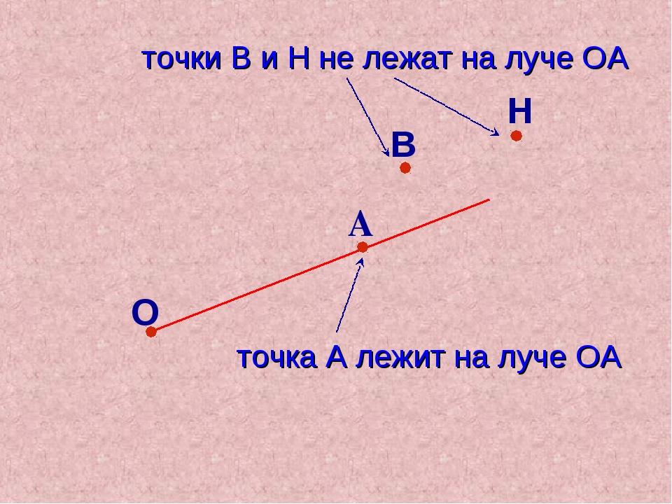 В О А точка А лежит на луче ОА Н точки В и Н не лежат на луче ОА