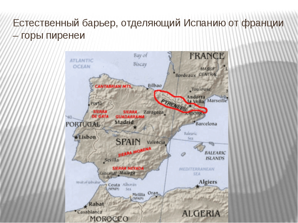 Естественный барьер, отделяющий Испанию от франции – горы пиренеи