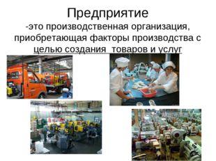 Предприятие -это производственная организация, приобретающая факторы производ