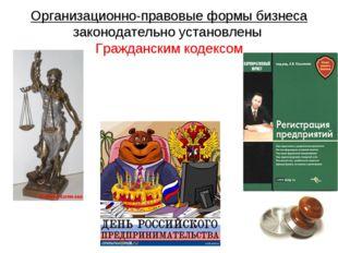 Организационно-правовые формы бизнеса законодательно установлены Гражданским