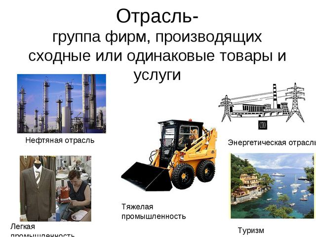Отрасль- группа фирм, производящих сходные или одинаковые товары и услуги Неф...