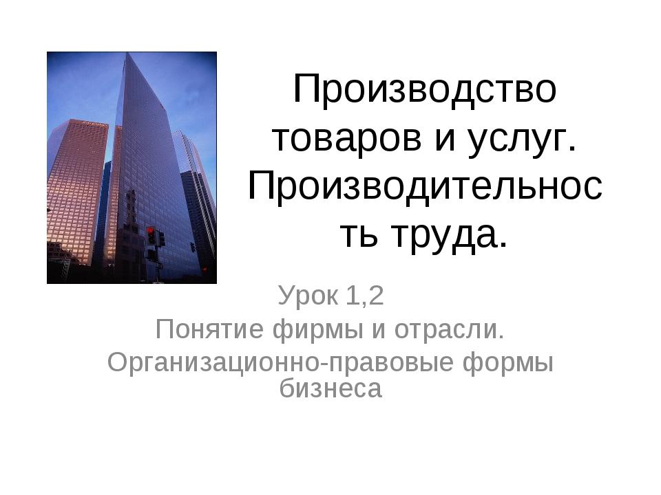 Производство товаров и услуг. Производительность труда. Урок 1,2 Понятие фирм...