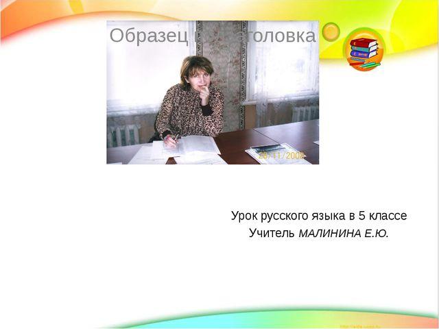 Урок русского языка в 5 классе Учитель МАЛИНИНА Е.Ю.