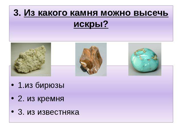 3. Из какого камня можно высечь искры? 1.из бирюзы 2. из кремня 3. из известн...