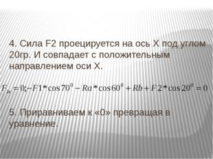 4. Сила F2 проецируется на ось Х под углом 20гр. И совпадает с положительным