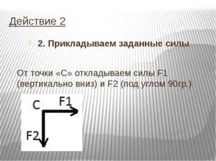Действие 2 2. Прикладываем заданные силы От точки «С» откладываем силы F1 (ве