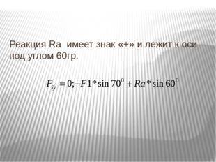 Реакция Ra имеет знак «+» и лежит к оси под углом 60гр.