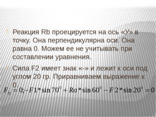 Реакция Rb проецируется на ось «У» в точку. Она перпендикулярна оси. Она рав