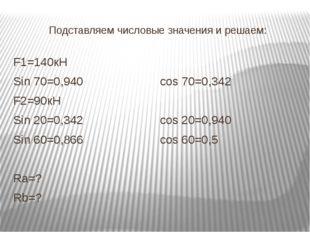 Подставляем числовые значения и решаем: F1=140кН Sin 70=0,940cos 70=0,342 F