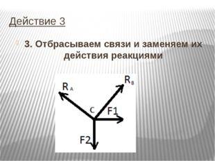 Действие 3 3. Отбрасываем связи и заменяем их действия реакциями