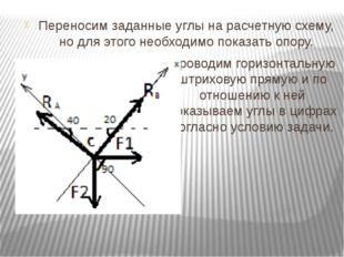 Переносим заданные углы на расчетную схему, но для этого необходимо показать
