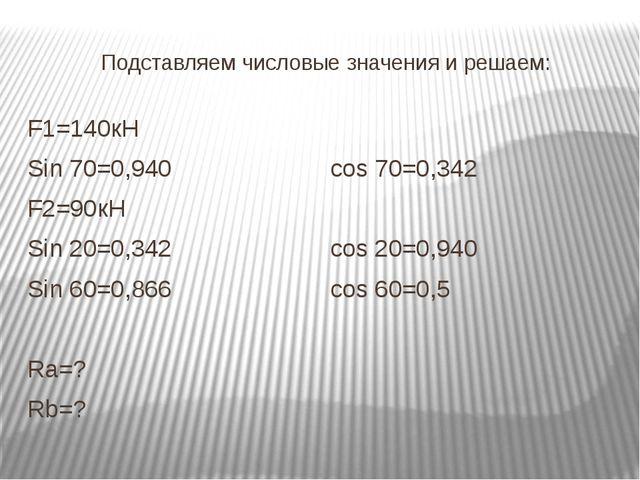 Подставляем числовые значения и решаем: F1=140кН Sin 70=0,940cos 70=0,342 F...